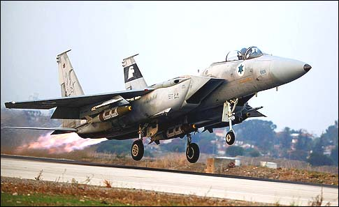 An Israeli F-15 Eagle fighter jet taking off from an Air Force base on its way to Gaza, November 19, 2012.
