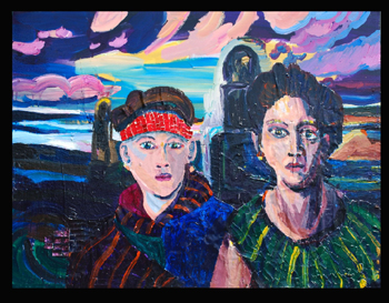 Batya and Miriam (2012) Acrylic and collage on canvas by Joel Silverstein