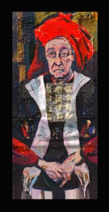 High Priest (Arnie) (2012) Acrylic and collage on canvas by Joel Silverstein