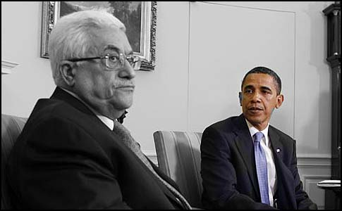 President Obama meeting Palestinian President Mahmoud Abbas in the White House.