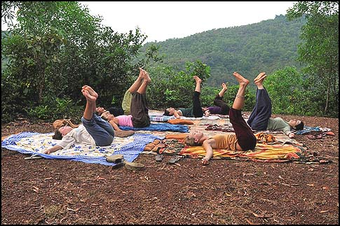Israelis practicing yoga in Om Beach, Goa, India.