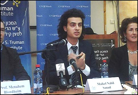 Egyptian blogger Maikel Nabil Sanad at Hebrew University press conference on Sunday, December 23.