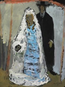 The Wedding Couple, gouache on paper by Mane-Katz