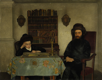 Rabbi with Young Student, oil on panel by Isidor Kaufmann