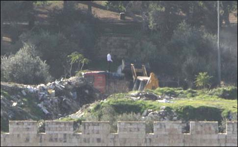 A tractor working on the Temple Mount, Dec. 24th.