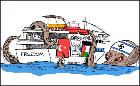 This 2010 caricature appeared in the Egyptian daily Al-Watani al-Youm, depicting an Israeli octopus adorned by a swastika and trapping a Turkish aid ship going to Gaza.