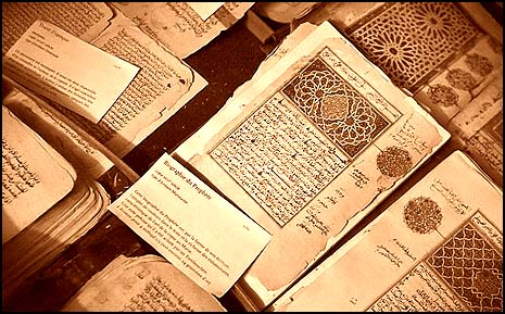 Ancient Islamic manuscripts at the Ahmed Baba Institute in Timbuktu, Mali.