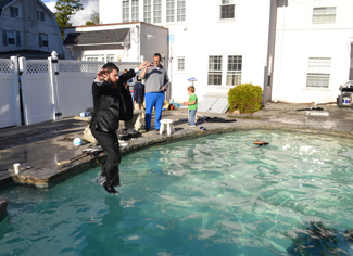 Benny Friedman jumping into the pool for the big dive scene. This jump was redone about ten times.