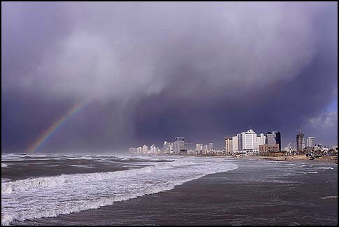 The Tel Aviv coastline during the storm.