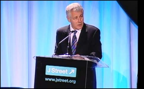 Senator Chuck Hagel speaking at J Street, 2009.