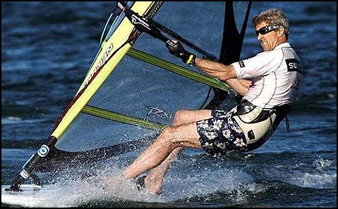 John Forbes Kerry, United States Senator from Boston Massachusetts windsurfing.