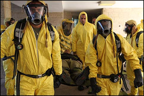 Israeli's Border Police training for chemical, biological, and nuclear attacks.