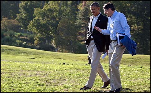 President Barack Obama walking with Chief of Staff Jack Lew during a break from debate preparations in Williamsburg, Va., Oct. 14, 2012.