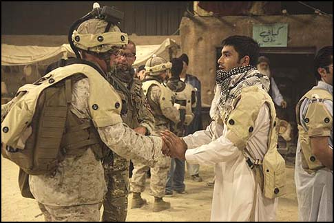 U.S. Marines with an Afghani Trainer in Camp Pendleton Calif. Training foreign soldiers does not allies make them