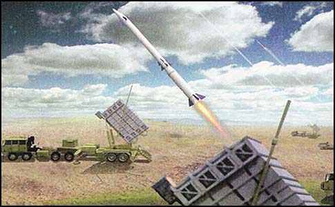 """David's Sling"" will offer a secondary, 45-150 mile range of defense against incoming missiles. (Artist's rendering)"