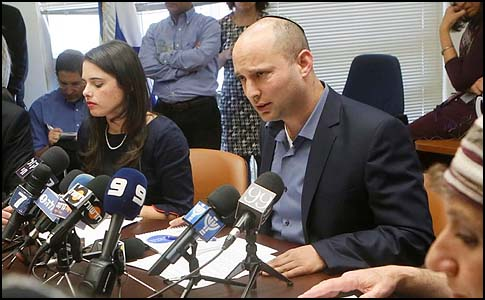 Naftali Bennett and Ayelet Shaked during a meeting of the Jewish Home Knesset faction, February 18, 2013.