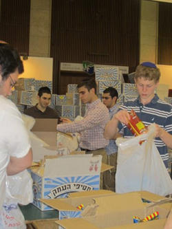Yeshiva students packing for the IDF