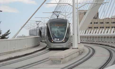 The Jerusalem light rail train, crossing the Chords Bridge near the Central Bus Station.