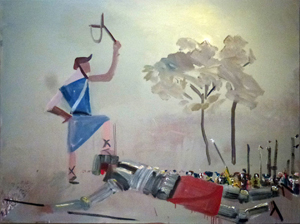 David and Goliath (2012) oil on canvas by John BradfordCourtesy the artist