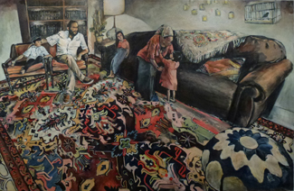 Shabbat Afternoon in Leah's Tent (36 x 60), Oil on canvas by Elke Reva Sudin.Courtesy Hadas Gallery