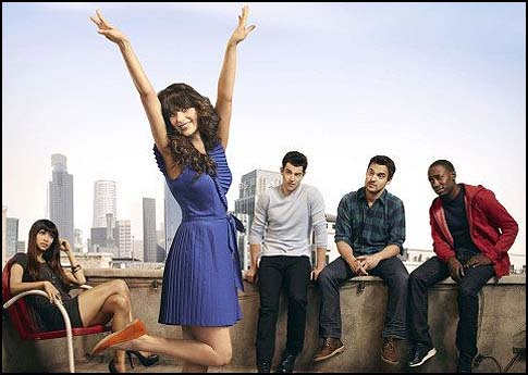 "(From left) Hannah Simone, Zooey Deschanel, Max Greenfield, Lamorne Morris and Jake Johnson in ""New Girl."""