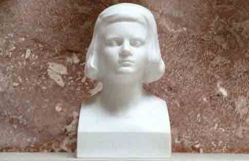 A bust of Sophie Scholl on display at the Walhalla memorial site in Bavaria, Germany.