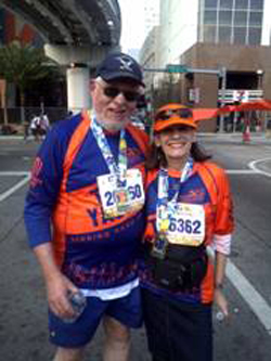 Rabbi Alan and Sandy Kalinsky at the marathon finish line.