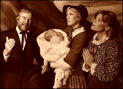 "Jacob Woodling, his son and his two wives, in a 1983 production of ""Paint Your Wagon"" at the Woodminster Amphitheater, Oakland, CA."