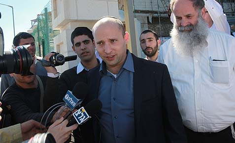 Habayit Hayehudi Chairman Naftali Bennett speaking to reporters in Jerusalem.