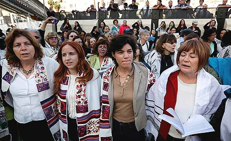 From the left: Anat Hoffman, MK Stav Shaffir MK Tamar Zandberg, and Leslie Sachs wearing prayer shawls at the Western Wall, March 12, 2013.