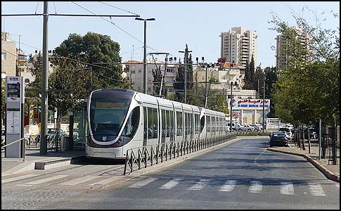The Arab neighborhood Shuafat stop of the Jerusalem light rail.