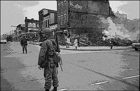 This is how Washington DC's Black neighborhoods looked, after the riots of 1969. Imagine if we'd have let them stay that way, and hired local gangs to keep the peace, behind a protective wall, out of sight. That's, essentially, what Israel did to the Palestinians, with America's blessings.