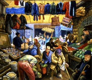 Machane Yehuda – oil on canvas by Brian Shapiro Courtesy the artist