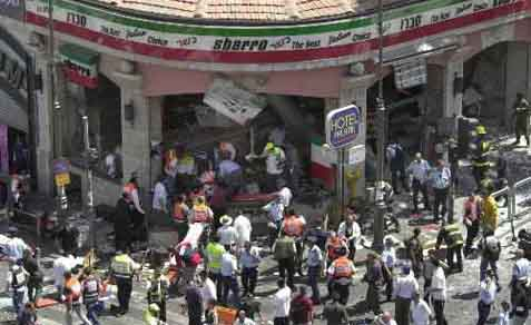 Sbarro restaurant after suicide bombing