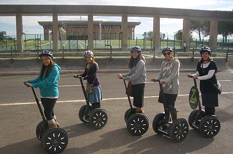 Segways around the Knesset.