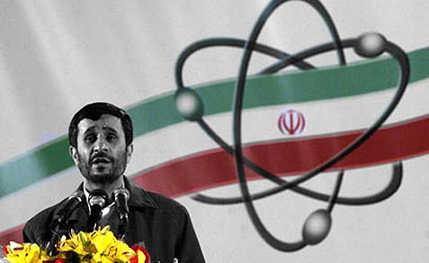 Iranian President Mahmoud Ahmadinejad, speaking at Iran's nuclear enrichment facility in Natanz.