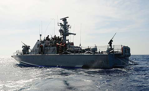 An Israeli navy boat patrolling the Mediterranean.
