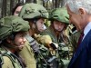 Secretary of Defense Chuck Hagel chats with Israeli soldiers during his visit this week to Israel.