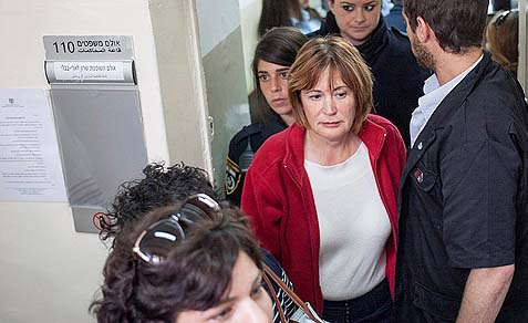 "Director of ""Women of the Wall"" Leslie Sachs leaving the courtroom at the Magistrate's Court in Jerusalem, April 11, 2013."