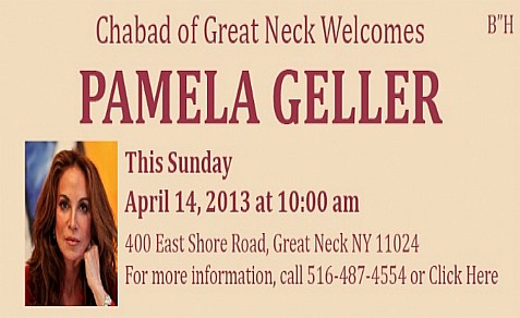 Great Neck Synagogue cancelled Pamela Geller's talk, but Chabad of Great neck and Cong. Beth-El of Edison, NJ will host her