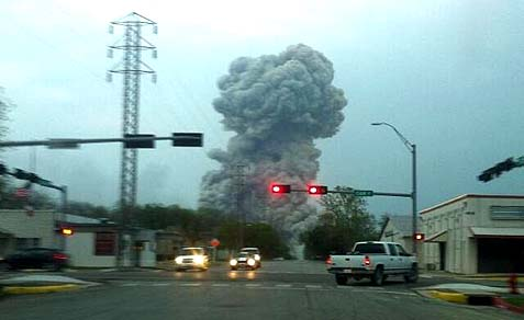 A fertilizer factory exploded north of Waco, Texas on Wednesday evening, April 17. Dozens were killed and hundreds injured.