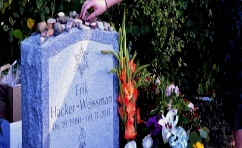 The headstone of Erik Weissman, one of three murdered in Waltham, MA on Sept. 11, 2011. Tamerlan Tsarnaev knew all three men.