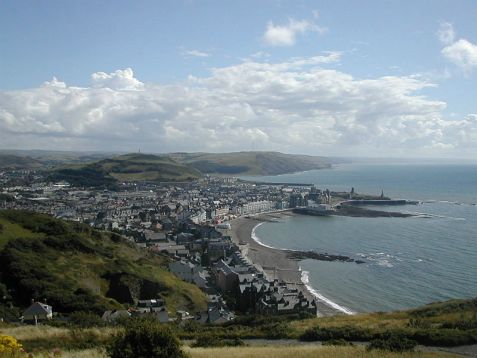 An aerial view of Aberystwyth, Wales, where the university prohibits lighting Friday night candles as a  fire hazard.