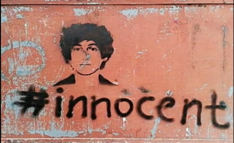 Graffiti urging support for Dzhokhar Tsarnaev, insisting he is innocent.