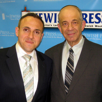 Mark Treyger (left) and Jerry Greenwald, managing editor of The Jewish Press, at the offices of The Jewish Press.