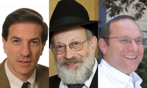 (L-R) Ethan Bronner, Rabbi Avi Shafran and Ilan Geal-Dor