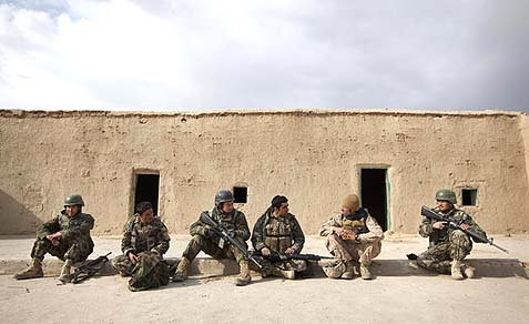 Weary U.S. soldiers in Afghanistan.