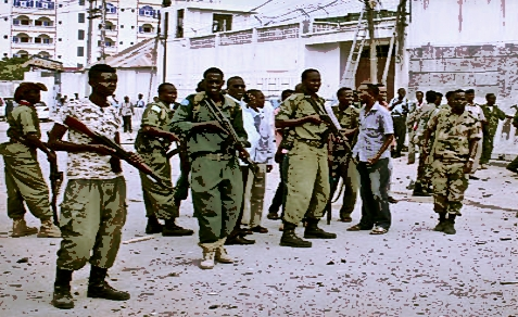 Somali soldiers outside UN Compound following terrorist bombing, June 19, 2013