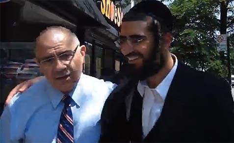 Mayoral Candidate Sal Albanese with a potential voter on 13th Avenue in Boro Park, Brooklyn.