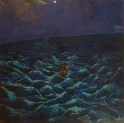 Jonah (2013) 48 x 48, oil on linen by Shany Saar. Courtesy the artist.